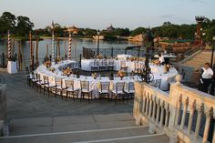 Beautiful reception for an Italy themed wedding ceremony. Walt Disney World Epcot Italy Wedding Reception