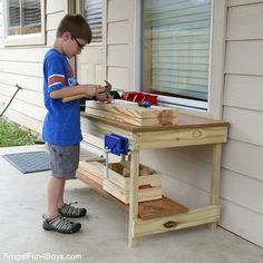 Woodworking Bench Kids Workbench Plans - Woodworking for Kids Kids Workbench, Woodworking Workbench, Woodworking Furniture, Woodworking Crafts, Woodworking Workshop, Woodworking Classes, Woodworking Quotes, Woodworking Logo, Kitchens