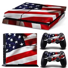 TURXIN PS4 Console and DualShock 4 Controller Skin Set  American Flag  PlayStation 4 Vinyl * Check this awesome product by going to the link at the image.Note:It is affiliate link to Amazon.