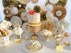 Glittery Gold Inspired Dessert Table & Décor  www.MadamPaloozaEmporium.com www.facebook.com/MadamPalooza