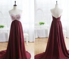 burgundy prom dress with beadings,#burgundy,#prom