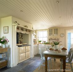 Country Kitchen in a thatched cottage near Portaferry in County Down by Ashley Morrison. Aga Kitchen, Kitchen Decor, Kitchen Ideas, Kitchen Cabinets, Kitchen Flooring, Cottage Kitchens, Home Kitchens, Country Kitchens, English Kitchens