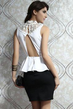 White Lace Top Black Peplum Accent Dress