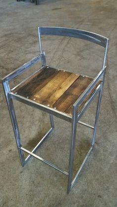 Bar stool custom made reclaim steel and wood