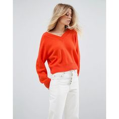ASOS Cropped Jumper with V Neck in Mohair Blend (165 PLN) ❤ liked on Polyvore featuring tops, sweaters, orange, v neck crop top, orange crop top, cropped sweater, v-neck sweater and v neck sweater