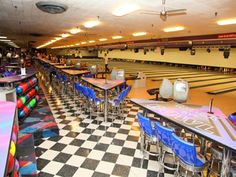 Pic of Chicago's own Diversey River Bowl with Richardson Seating custom logo bar stools.