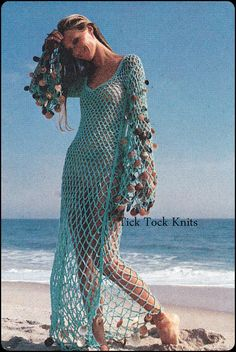Crochet Pattern PDF Vintage – Women's Sea Goddess Dress – Beach Cover Up – Retro Crochet Pattern – Instant Fishnet Dress, Mesh Dress, Fishnet Top, Crochet Bikini Pattern, Crochet Patterns, Hat Patterns, Crochet Beach Dress, Crochet Summer, Goddess Dress