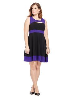 Plus Size CITY CHIC Colorblocked Peekaboo Dress In Purple And Black