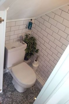 Understairs Toilet Idea Understairs Toilet Subway Victorian Tiles Down Understairs Ideas idea Subway tiles Toilet Understairs Victorian Cloakroom Toilet Downstairs Loo, Bathroom Under Stairs, Attic Bathroom, Small Bathroom, Under The Stairs Toilet, Down Stairs Toilet Ideas, Bathroom Ideas, Small Wc Ideas Downstairs Loo, Master Bathroom