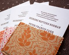 Letter pressed wedding invites with fabric pouches. I love these...