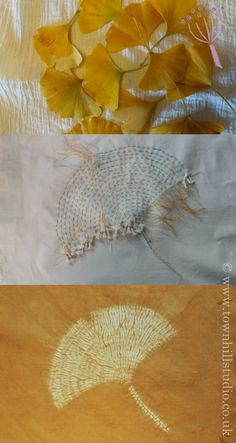 Inspiration, stitching and finished design of a ginko leaf in shibori stitch resist by Annabel Wilson