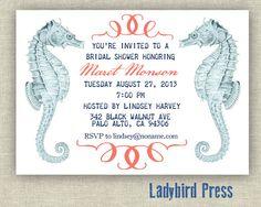 Sea Horse Bridal Shower invitation, nautical theme