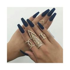 Perfect navy blue matte nails ❤ liked on Polyvore featuring beauty products, nail care, nail treatments and nails