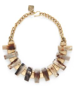 """Ashley Pittman Light Horn Jumbe Necklace Hammered bronze chain collar necklace featuring alternating polished light horn and hammered bronze plates Hand-hammered bronze details Approx. 18""""L Hook and eye clasp closure Handcrafted in Kenya Horn color and pattern may vary   Ashley Pittman donates 10% of all profits to help fund a rural health center and primary school in Kenya."""