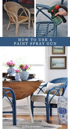 "The Painted Hive | ""New"" Blue Cane Chairs…plus how to use a paint sprayer"
