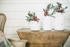 These jug vases can stand alone or in a set of three! Set a pretty succulent inside and place on...