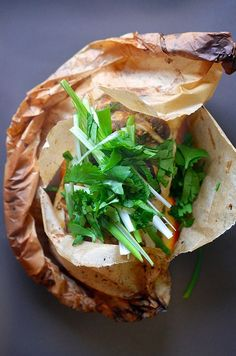 Fish en Papillote (in Parchment) with Citrus, Ginger,
