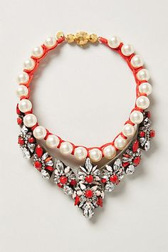 Sparkle bib necklace with pops of red #anthrofave