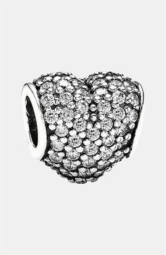 PANDORA Pavé Heart Charm available at #Nordstrom