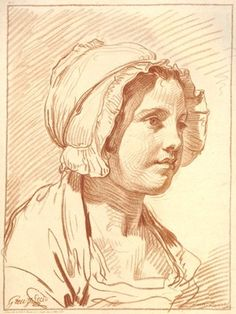 Portrait of a young woman, bust-length, turned to the right, wearing a bonnet.  c.1761 Crayon manner printed in red