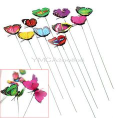 10pcs #colorful butterfly on #sticks plant pot outdoor garden craft art #decorati,  View more on the LINK: http://www.zeppy.io/product/gb/2/191453113765/