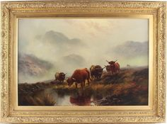Harald Hall Large Antique Oil Painting Cattle Cows Animals Highlands Signed Highlands, Cows, Cattle, Living Rooms, Antiques, Painting, Animals, Gado Gado, Lounges