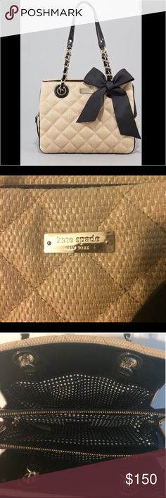 """NWOT KATE SPADE QUILTED DARCY BAG BRAND NWOT NEVER USED Tightly-woven, diamond-quilted straw fashions a lovely shoulder bag topped with chain-embellished handles and finished with a demure logo plate in front. Three interior compartments are accessed separately for easy organization. Open top with center zip closure. Interior zip, wall and cell phone pockets. Dimensions: 11""""W x 8""""H x 4""""D. (Measures small.) Strap drop: 9"""". NOT INCLUDED IN BUNDLE. SOLD OUT AT NEIMAN MARCUS. kate spade Bags"""