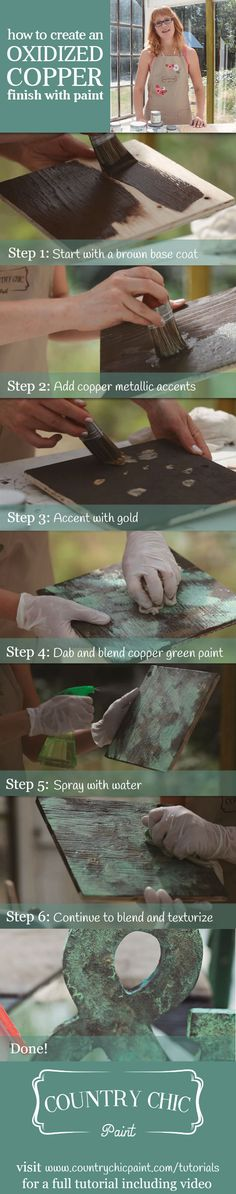 How To Create a Faux Oxidized Copper Finish with Country Chic Paint #DIY #countrychicpaint #chalkpaint #furniturepaint #paintedfurniture #homedecor #howto #tutorial #video #techniques #oxidizedcopper #copper #fauxfinish #metallic - blog.countrychicpaint.com