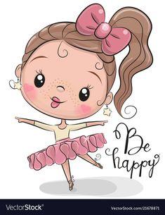 Cute Ballerina on a white background. Cute Cartoon Ballerina on a white background stock illustration Cartoon Clip, Cute Cartoon Girl, Cute Little Girls, Cute Kids, Doodle Art, Dibujos Cute, Cute Teddy Bears, Smileys, Cute Owl