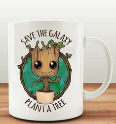 Guardians of the Galaxy Save the Galaxy Plant a Tree Baby Groot Coffee Mug. Baby Groot, Cute Cups, Cool Mugs, Coffee Drinkers, Mug Cup, Tea Mugs, Mug Designs, Coffee Cups, Coffee Time
