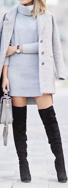 Sweater dress + over-the-knee black boots = Professional Chic look