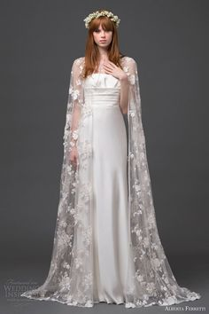 alberta ferretti bridal 2015 strapless wedding dress lace cape altair front view train; I am very much into the idea of having a cape