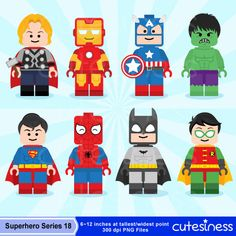 Lego Digital Clipart Lego Superhero Clipart by Cutesiness on Etsy