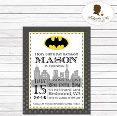 Batman Birthday Invitation  Batman Birthday Party by BabycakesArt