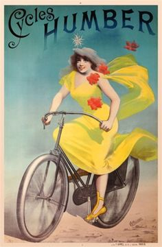 Cycles Humber 1888 France - Beautiful Vintage Poster Reproductions. This vertical French transportation poster features a woman in a yellow dress with flowers on a bicycle against a blue background. Giclee Advertising Print. Classic Posters