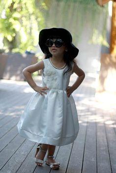 Ivory white flower girl dress plain white dress by DearMimiDress