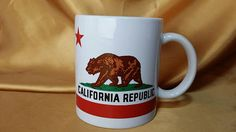 California Republic State Bear Flag Coffee Mug Cup history of flag on back *eb