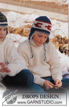 """DROPS Children 12-22 - Pulli mit Strukturmuster und Mütze in """"Karisma"""" und """"Alaska"""""""