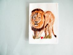 Hand embroidered lion badge  jacket patch  by Thedinkydoodlestudio