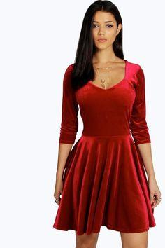 Lara Velvet Sweetheart Neck Skater Dress Dresses For Sale fb649f206