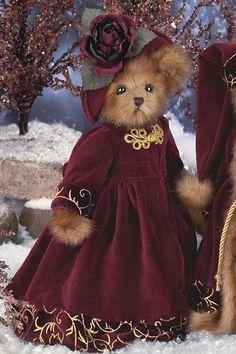 winter bear maroon dress