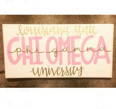 Customizable 7 x 14 stretch canvas painting that can be personalized with your school, sorority, and chapter. Color of paint and glitter can also be customized. Just leave a request in the notes section.