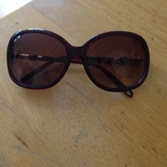 Red Round Sunglasses Excellent, metal and wood trim, great quality, maroon red frames and shade, gold hardware, discount on bundles. Urban Outfitters Accessories Sunglasses
