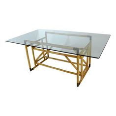 Architectural Bamboo & Brass Dining Table w/Glass