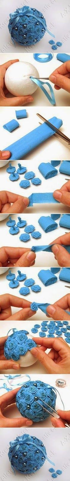 DIY Crepe Paper Flower Ball-can us different colors and make Christmas decorations, too!