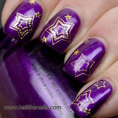 Gold Stars Nail Art Water Transfer Decal Prom Nails. via Etsy.
