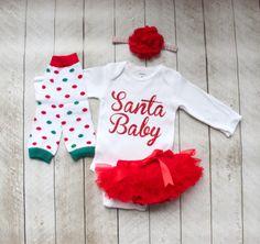 "Christmas ""Santa Baby"" Baby Girl Bodysuit, Ruffle Bottom Tutu Bloomer, Leg Warmer & Headband Set - Newborn Photo Set - Diaper Cover - Gift by coutureflower on Etsy https://www.etsy.com/listing/248507440/christmas-santa-baby-baby-girl-bodysuit"