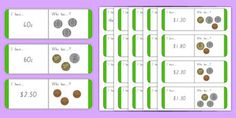 New Zealand Money Coins Loop Cards Interactive Activities, Hands On Activities, Math Activities, Learning Money, Kids Learning, Primary Resources, Teaching Resources, Money Worksheets, Classroom Displays