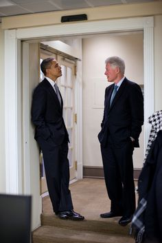 President Barack Obama talks with former President Bill Clinton in the Lower Press Office before addressing the media in the James S. Brady Press Briefing Room at the White House, Dec. 10, 2010. (Official White House Photo by Pete Souza)