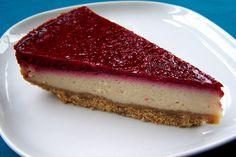 Limoen-framboos cheesecake, veganistisch, zoner melk, zonder ei